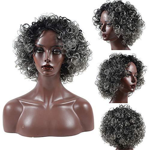 Peluca,Peluca de peluca negra de abuelita profunda, peluca mullida de rollo corto negro de onda pequea