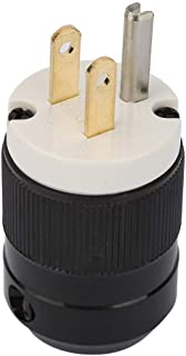 2Pcs US Male Plug 20A 125V, NEMA L5-15P Industrial Grade Waterproof Electric Plug,3 Poles Straight Blade Plug Adapter,Grounding Connector Cord Outlet Replacement