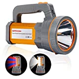 Super Bright 35W Handheld Searchlight USB Rechargeable Cree LED Spotlight Flashlight Large 4 Batteries 10000mah High Lumens Powered Long Lasting Heavy Duty Portable Torch with Handle,Camp Lantern