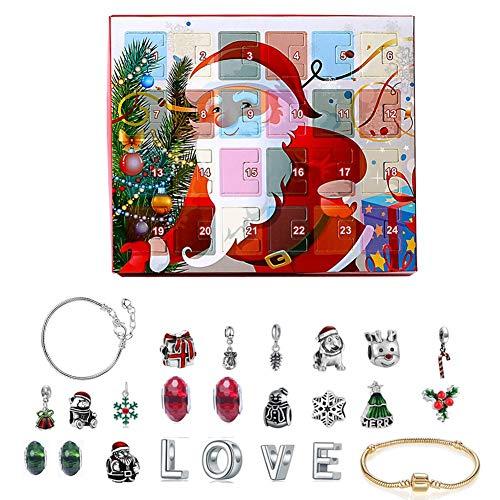 Ridecle Weihnachten Adventskalender Schmuck Geschenkbox mit 24 DIY Bettelarmband Halskette Schmuckset Countdown Kinder Erwachsene