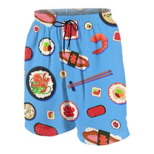 Blived Troncos de natación de los Hombres,Sushi de Comida Japonesa apetito con Diferentes R,Trajes de baño de Ropa de Playa Trajes de baño Shorts de baño Trajes de baño de Malla y Bolsillos