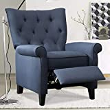 IOMOR Recliner Elizabeth Accent Chair for Living Room Easy to Push Mechanism (Blue-Black)