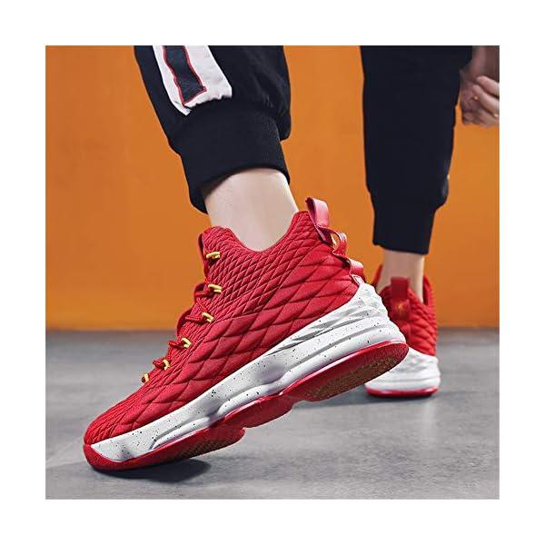 51SwlYwypuL. SS600  - Zapatos Hombre Deporte de Baloncesto Sneakers de Malla para Correr Zapatillas Antideslizantes Negro Rojo Champán Verde…