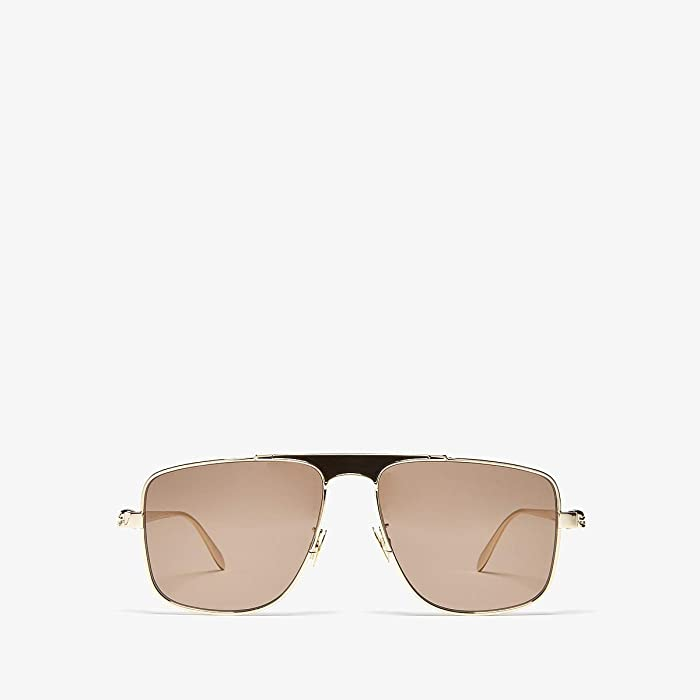 Alexander McQueen  AM0200S (Shiny Light Gold/Brown Solid) Fashion Sunglasses