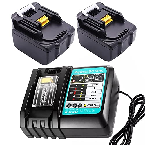 Replace 2 pieces of 18V 4.0Ah Li-Ion Makita battery and Replace 3A DC18RC Makita charger(quick), suitable for Makita job site radio DMR109W DMR109 DMR108 DMR107 DMR106 DMR200 DMR202 LXT (2BL1840 + 3A)