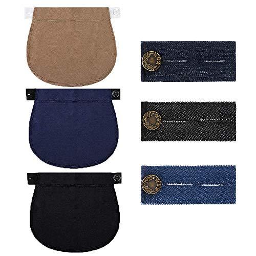 Extensión de Cintura Saludable para 3 Piezas de Pantalones de Maternidad (Negro, Azul Oscuro y Caqui)