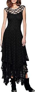 Behkiuoda Women Bohemia Dress with Lace Double Layered Ruffled Long Dress Sleeveless Long Dress