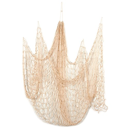 Blue Panda Decorative Nautical Fish Netting - Nautical Decor Cotton Sea Net for Sea, Beach, Fishing Theme Party, Mediterranean Style Fish Net Home Decorations - Beige, 79 x 50 Inches