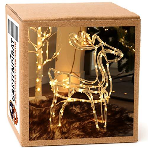 Leuchtfigur Rentier 36 cm LED Deko Weihnachten beleuchtet Batterie Timer innen außen