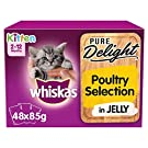 whiskas 2-12mths Kitten Pouches Pure Delight Poultry Selection in Jelly 48 x 85g pack