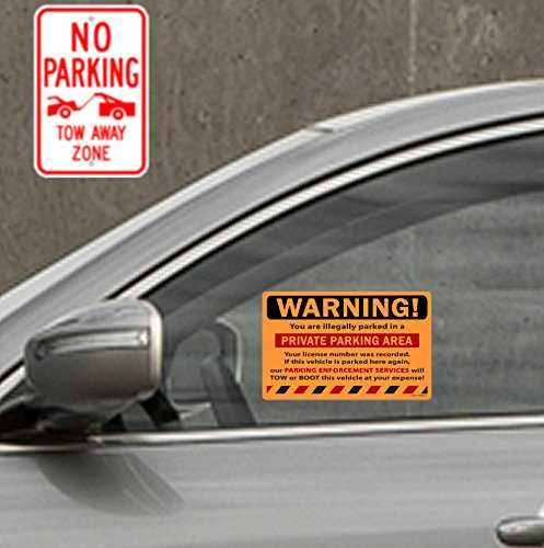 """50 Orange Fluorescent Warning Private Parking Area! Violation No Parking Towing Car Auto Sign Stickers 8"""" X 5"""" Photo #3"""