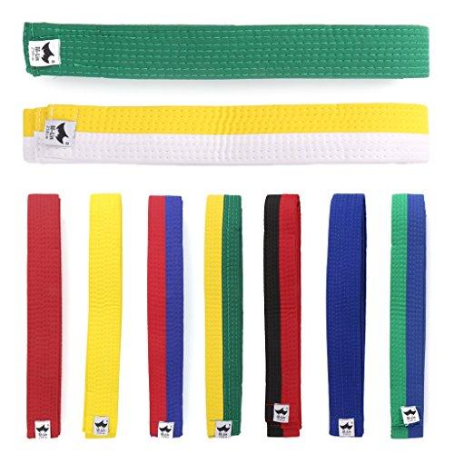 Mentin cinturón para Taekwondo Karate Judo 250cmx4cm 9Colores, Blanco, Amarillo, Medium