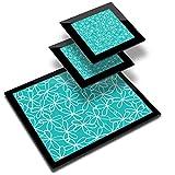 Destination 46349 - Mantel individual de vinilo (20 x 25 cm, 2 posavasos de 10 x 10 cm), diseño de flores, color verde y blanco