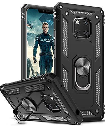 LeYi Cover per Huawei Mate 20 PRO Custodia, 360° Ring Difesa Militare Bumper TPU Case Magnetica Silicone Custodie per Huawei Mate 20 PRO Case Nero