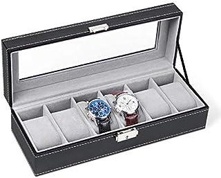 coffret montre homme,Boîte montre en similicuir boîtier de montre montres stockage range montre homme pour 6 porte montres...