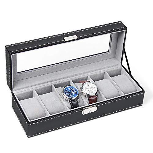 HEOMU Caja de Reloj Cuero de PU Relojes Almacenamiento para 6 Relojes con Llave