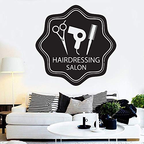 HGFDHG Salón de Belleza Logo Tatuajes de Pared salón de Belleza diseño de Cabello Arte Mural decoración de Interiores Puertas y Ventanas Pegatinas de Vinilo