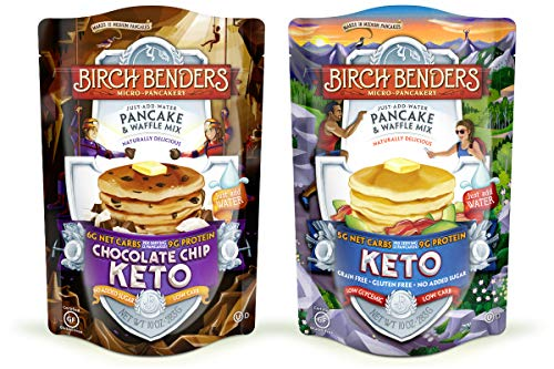 Birch Benders Keto Pancake & Waffle Mix, Low-Carb, High Protein, Grain-free, Gluten-free, Keto-Friendly, Made with Almond, Coconut & Cassava Flour, 2 Pack Variety (Original & Choc Chip) 10oz each
