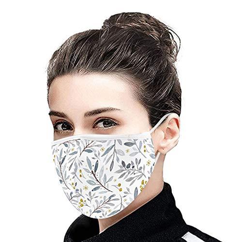 YOYIK Reutilizables Lavables Face Covering de Tela Pañuelos Flores Tapabocas tela Adulto con Banda Elástica para Exterior
