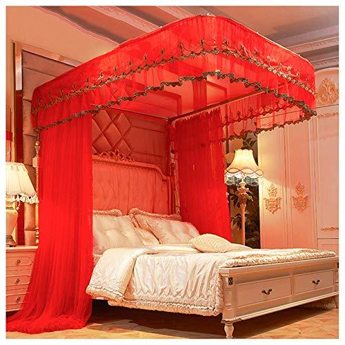 Mosquitera para cama de malla encriptada Hilo de tienda de malla Exquisito bordado Craft Craft Lace Tienda de doble capa Cama cubierta de la cama Net para la decoración del dormitorio de las niñas (ta