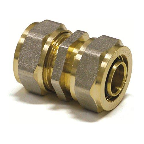 Pipetec Schraubfitting Kupplung Übergang 16x2 mm Verbinder für Mehrschicht-Verbundrohr, DVGW, UBA-konform, bis max.100°C