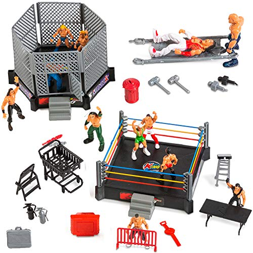 ToyVelt 32-Piece Wrestling Toys for Kids - Wrestler Warriors Toys with Ring & Realistic Accessories - Fun Miniature Fighting Action Figures Includes 2 Rings - Great Gift for Boys and Girls