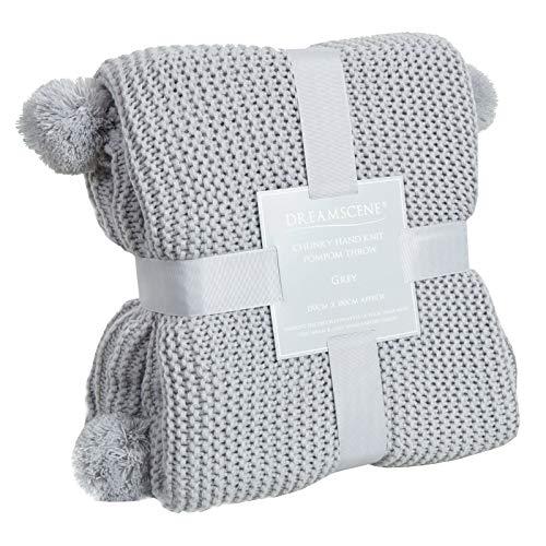 Dreamscene Grobgestrickter Überwurf für Sofa groß gestrickt dick warm Bommel Bett Decke, Silbergrau, 150 x 180cm