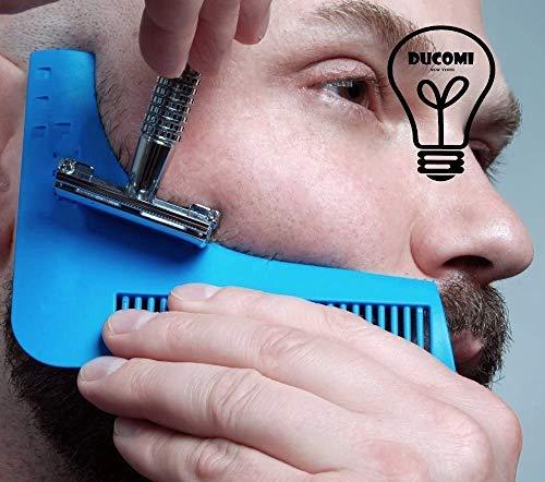 Ducomi Peine de Barba, Plantilla de Barba, Herramienta de Formación de Barba, Adecuado para Todos, Guía de Afeitado para Barba, Portátil y Resistente para el Estilo (Peine Negro)
