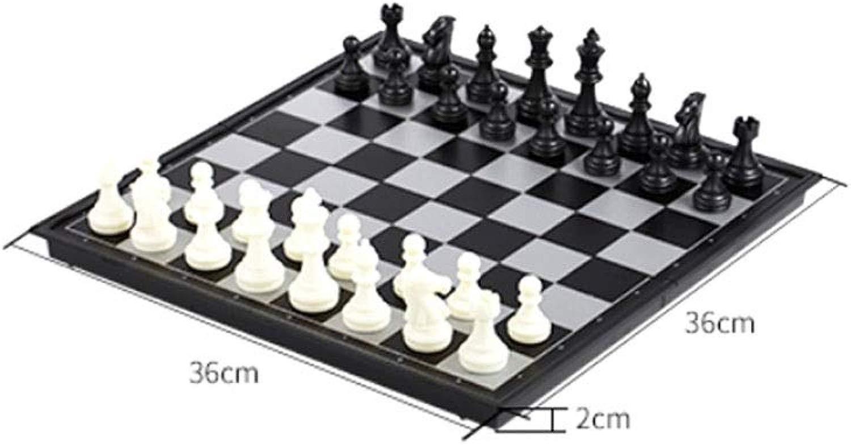 Gaoxingbianlidian001 Scac  internazionali, facile da trasportare set di scac  pieghevoli, ben educati adulti   formazione degli studenti scac  magnetici (nero + bianco, 32  32  2 cm) Design pe