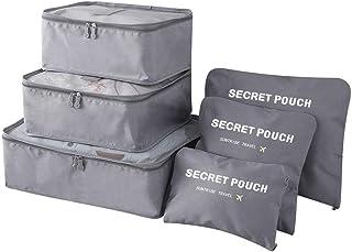 6PCS Packing Cubes - Bolsa de Almacenamiento de Viaje Phogary Organizador Equipaje Compresión Bolsas Value Set Maleta pequ...
