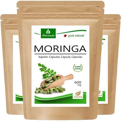 Moringa capsules 600mg o Moringa Energia compresse 950mg - Oleifera, vegan, Prodotto di qualità da MoriVeda (240 compresse)