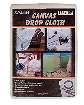Avalon Home Canvas Drop Cloth Tarp – Premium Quality Canvas Fabric – Multipurpose Painters Drop Cloth Sheet for Indoor & Outdoor  12x15
