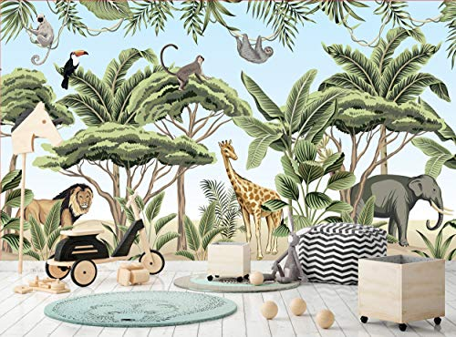 Safari-Tiere, tropische Bäume, Fototapete Wandbild, Wanddekoration, B 366 cm x H 254 cm, Tapeten-Wandbild, Bild, Riesen-Papier-Poster gratis Kleister für Kinder Kinderzimmer Kinderzimmer