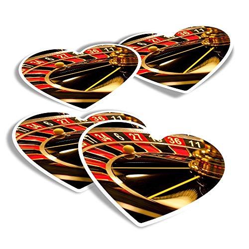 Pegatinas de vinilo con forma de corazón (juego de 4) – Ruleta Rueda Casino Divertidas Calcomanías para portátiles, tabletas, equipaje, reserva de chatarra, frigoríficos #3625