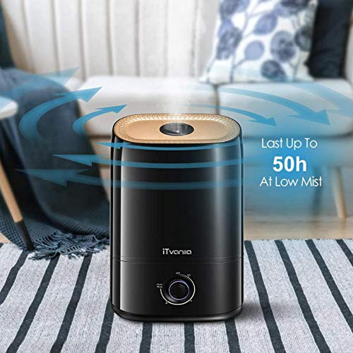 iTvanila Cool Mist Humidifier for Large Room, 5L Ultrasonic Bedroom Humidifiers, Essential Oil Tray, Lasts up to 50H Humidifier for Living and Baby Room, Black (C3)