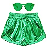 Perfashion Women Green Metallic Short StPatricksDay Shiny Booty Drawstring Neon Shorts
