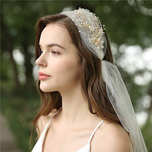 Velo de novia hecho a mano con cuentas florales nupcial tocado marfil velos de boda fiesta fiesta fiesta fiesta fiesta accesorios para el pelo velo de novia