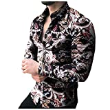 Harpily Camisa de Manga Larga Cuello Redondo con Botones, Sudadera con Capucha Camisetas 3D Divertidas Impresa Manga Larga Verano T-Shirt Top M-XXL (Negro, XXL)