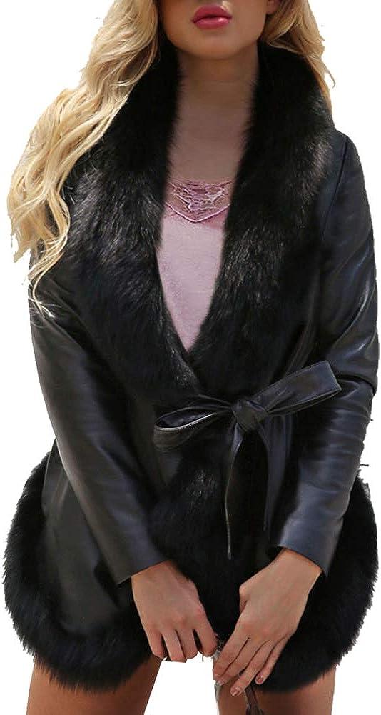 LIYT Women Faux Fur Overcoat Fur Jacket Coat WarmJacket PU Leather Parka Windbreaker