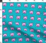Schwein, Tier, Unisex, Vegan, Rosa, Punkte Stoffe -