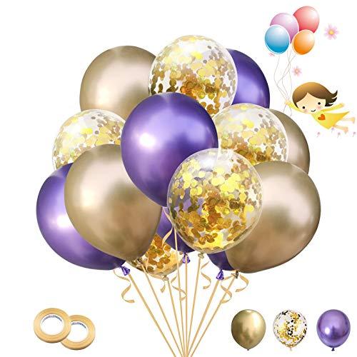 Globos de Confeti 30 Piezas Globos de Látex Metálicos Globos para Cumpleaños, Bodas Aniversario, Bautizos Comunion Baby Shower, Graduacion Fiesta Decoracion (Morado dorado)