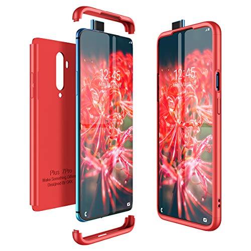 CE-LINK pour Coque OnePlus 7T Pro Case Housse Etui en PC Matière 3 en 1 Dur Anti-Rayures Mat PC Couverture 360 Degrés Protecteur Très Mince Solide Cover - Rouge