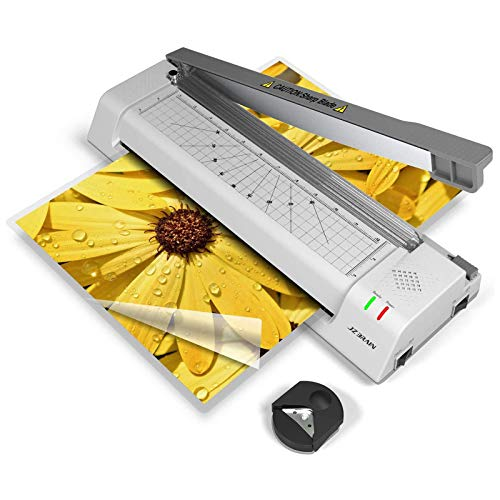JZBRAIN Plastificadora A3, 4 en 1 plastificadora A4 y A3 con cortador de ángulos, 250 mm/min de alta velocidad, 20 bolsas de plastificado incluidas para uso en oficina y doméstico, color gris