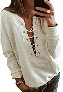 QIYUN.Z Women Long Sleeve V Neck Criss Cross Strappy Tunic T-Shirt Slim Fit Casual Sexy Comfy Pullover Tops