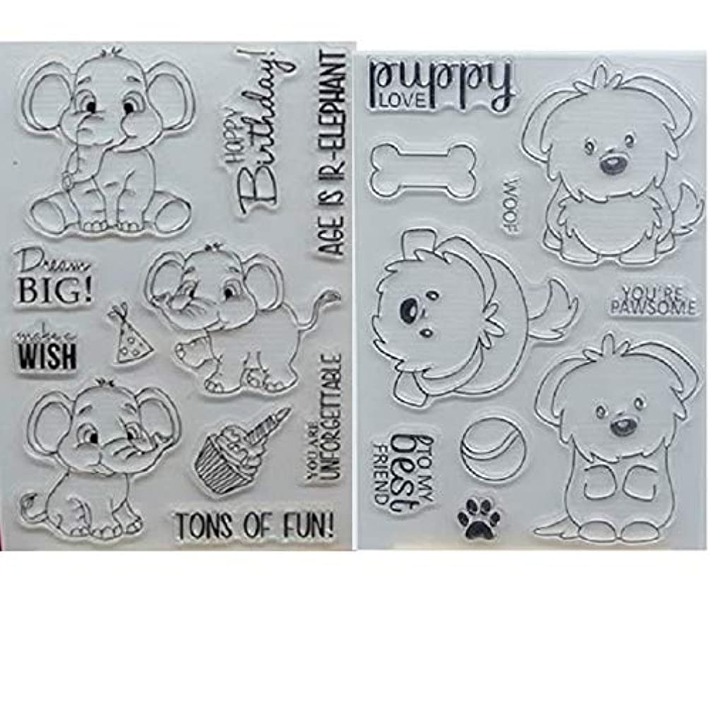 Welcome to Joyful Home 2pcs/Set Elephant and Puddy Rubber Clear Stamp for Card Making Decoration and Scrapbooking