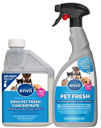 Envii Pet Fresh – Elimina Perro Manchas y Olores, Quitamanchas & Neutralizador con Enzimas, para Cualquier Accidente de su Perro o Gato – 1x 500ml de concentrado y 1x pulverizador de 750ml