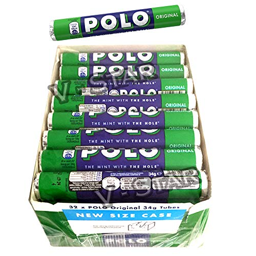NEW NESTLE POLO MINTS BOX OF 32 ROLLS OF 34g TUBES (POLO ORIGINAL)