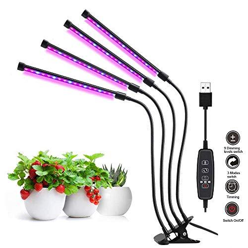 Gute Qualität 4 Köpfe LED wachsen Licht volle Spektrum Phyto Lampe USB Clip-on Grow Lampe für Pflanzen Indoor Sämlinge Blume wachsen 4 Köpfe Schwanenhals Vollspektrum LED-Pflanze Wachsen Glühbirne