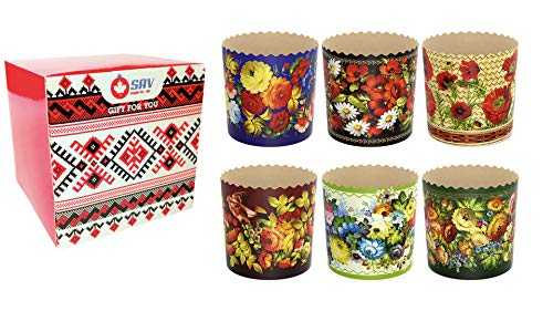 Easter Bread Ukrainian Baking Paper Round Molds Forms Kulich Cake Panettone Muffins Gift Pack Bakeware Set of 6 (Small Size, 9002)