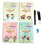 Ecriture calligraphique pour enfants, Calligraphie magique, Cahier de calligraphie réutilisé, Pratique de l'écriture magique pour enfants, Livre de calligraphie magique